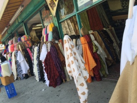 Streets of LA... Fashion District lined with bolts of fabric.